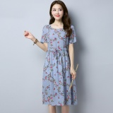 Discount Summer New Style 2017 Literary National Wind Small Floral Slimming Effect Waist Lace Skirt Round Neck Short Sleeved Dress Women Gray Intl Oem China