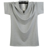 Get Cheap Loose Fit Cotton Solid Color Increase Short Sleeve T Shirt Pure Gray Pure Gray