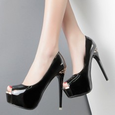 Coupon 12Cm S*Xy Patent Leather Waterproof Taiwan Female High Heeled Shoes Fish Head Shoes Black