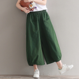 Buy Wild Linen Solid New Style Pantyhose Pants Army Green Army Green Oem