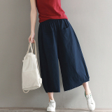 Wild Linen Solid New Style Pantyhose Pants Navy Blue Navy Blue On Line