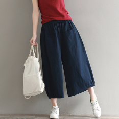Lowest Price Wild Linen Solid New Style Pantyhose Pants Navy Blue Navy Blue