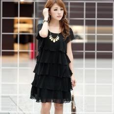 Buy Summer New Women Loose Big Swing Cascading Ruffle Cake Dress Vintage Chiffon Party Dress Plus Size S 5Xl Color Black Intl Oem Online