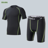 Great Deal Summer Outdoor Riding Quick Drying Male Fitness Suit Running Stretch Slim Fit Short Sleeved Sports T Shirt Basketball Shorts Bottoming Black Green Line Suit