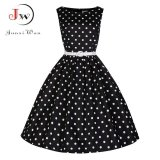 Sale Summer Polka Dot Dress 2017 Pin Up Plus Size Women Clothing Party Office Ball Gown Robe Ete S*xy 50S Vintage Big Swing Dresses Wq0986 Black Intl Oem Wholesaler