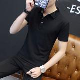 Price Compare Men S Thin Turndown Collar T Shirt Black Gray Collar Black Gray Collar