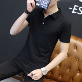 The Cheapest Men S Thin Turndown Collar T Shirt Black Gray Collar Black Gray Collar Online