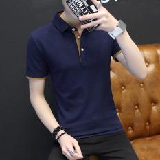 List Price Men S Thin Turndown Collar T Shirt Dark Blue Orange Collar Dark Blue Orange Collar Oem