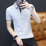 Sale Men S Thin Turndown Collar T Shirt Gray Black Collar Gray Black Collar Online China