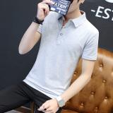 Buy Men S Thin Turndown Collar T Shirt Gray Orange Led Gray Orange Led Online China
