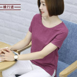 Sale Korean Style Bamboo Cotton Solid Color Plus Sized Top Bottoming Shirt Purplish Red Purplish Red Oem Wholesaler