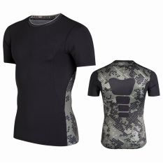 Deals For Summer Quick Drying Breathable Fitness Room Sports Slim Fit Vest Pro Armor Pattern Basketball Training Fitness Sleeveless Men Camouflage Black Short Sleeved