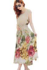 Summer Short Sleeve Chiffon Maxi Dress Beige Oem Discount