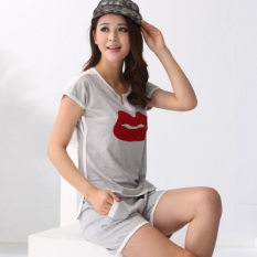 73D74B96 F Summer Short Sleeved Shorts Women S Pajama Sets Lips Gray Online