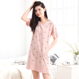 Sale Loose Korean Style Cotton Female Summer Pajamas Tracksuit Lingerie 007 Coconut Tree Nightgown On China