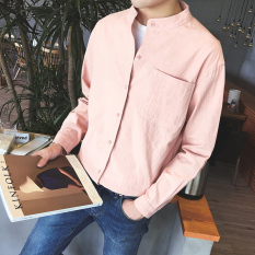 Latest Loose Fit Cotton Linen Male Stand Collar Half Sleeved Shirt Short Sleeved Shirt Pink Long Sleeved Models
