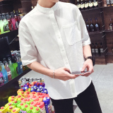 Compare Loose Fit Cotton Linen Male Stand Collar Half Sleeved Shirt Short Sleeved Shirt White Sleeve Models