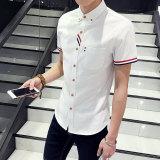 Discount Men Slim Collar Color Block Half Sleeved Shirt Short Sleeve Shirts White Cs53 White Cs53