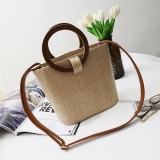 Cheapest Women S Stylish Straw Bucket Bag With Ring Handle Casual Color Casual Color Online