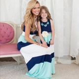 Price Comparisons 1Pcs Summer Style Family Matching Outfits Mother Daughter Dresses Blue A Line Maxi Dress Mother Kids Clothes Intl