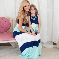 Sale 1Pcs Summer Style Family Matching Outfits Mother Daughter Dresses Blue A Line Maxi Dress Mother Kids Clothes Intl Oem