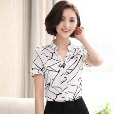 Summer Style Women Tops Casual Short Sleeves V Neck Fashion Chiffon Print Blouses Shirts Ladies Plus Size Colour White Intl Review