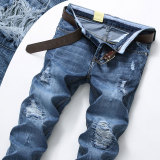 Sale Men S Korean Style Thin Straight Leg Loose Ripped Jeans 9601 Light Blue Online On China