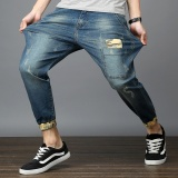 Compare Summer Thin Section Large Size Elastic Men S Nine Points Harlan Feet Jeans Light Blue