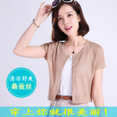 Where To Shop For Summer Thin Short Sleeved Knit Cardigan M Camel