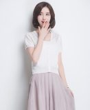 Cheap Summer Thin Short Sleeved Knit Cardigan Pure White Online