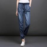 Latest Summer Thin Women Jeans Casual Plus Size Ladies Harem Bloomers Wide Leg Elastic Waist Intl