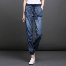 Retail Price Summer Thin Women Jeans Casual Plus Size Ladies Harem Bloomers Wide Leg Elastic Waist Intl