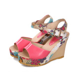 Compare Summer Women Ankle Strap Peep Toe Sandals Floral High Heel Wedge Slingback Shoes Export Prices