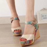Price Comparisons Of Summer Women Ankle Strap Peep Toe Sandals Floral High Heel Wedge Slingback Shoes Intl