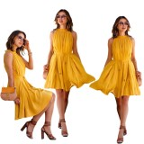 Summer Women Casual Beach Dress S*xy Sleeveless Bandage Dress Yellow Intl In Stock