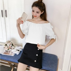 Cheaper Summer Women Fashion Casual Korean Boat Neck Loose Blouses Short Sleeve Off The Shoulder Chiffon Bowknot Slim Clothing Tops Intl