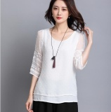 Recent Summer Women Fashion Crochet Hollow Out Lace Blouse White Intl