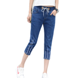 Summer Women Jeans Slim Fit Three Quarters Pant Cropped Length Shopping