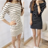 Best Deal Summer Women Stripe Casual Half Sleeve White Dress Intl