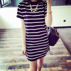 Best Offer Summer Women Stripe Casual Short Sleeve Black Dress Intl