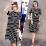 Summer Women Stripe Casual Short Sleeve Black Dress Intl Compare Prices