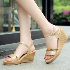 Cheapest Summer Women S Heel Sandals Slope Elegant Shoes Shallow Peep Toe Platform Wedges Shoes Intl