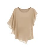 Shop For Summer Women S Short Sleeved T Shirt Flounced Chiffon Blouse Tops Bat Shirt Khaki