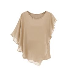 Buy Summer Women S Short Sleeved T Shirt Flounced Chiffon Blouse Tops Bat Shirt Khaki China
