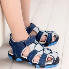 Best Sunshop Boys Kids Durable Toes Sealed Casual Leather Breathable Summer Sandals Antiskid Shoes 085 Blue Intl
