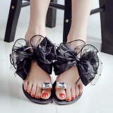 Sunshop Korea Women Bowtie Flower Crystal Flat Sandals Casual Summer Beach Flip Flops Slippers Intl Sunshop Discount