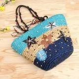 Sunshop New Women Handmade Embroidery Straw Braid Hawaii Summer Beach Starfish Shoulder Bag Holiday Handbag Blue Intl Cheap