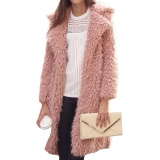 Buy Sunshop Winter Women Warm Wool Loose Long Sleeve Casual Fur Long Coat Pink Intl China