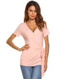 Discount Sunweb Women V Neck Short Sleeve Faux Wrap Solid Slim Fit Casual T Shirt Tops Pink Intl