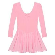 Supercart Arshiner Children G*Rl Kid Long Sleeve Ballroom Ballet Dance Skate Jumpsuit Dress Pink Intl On China